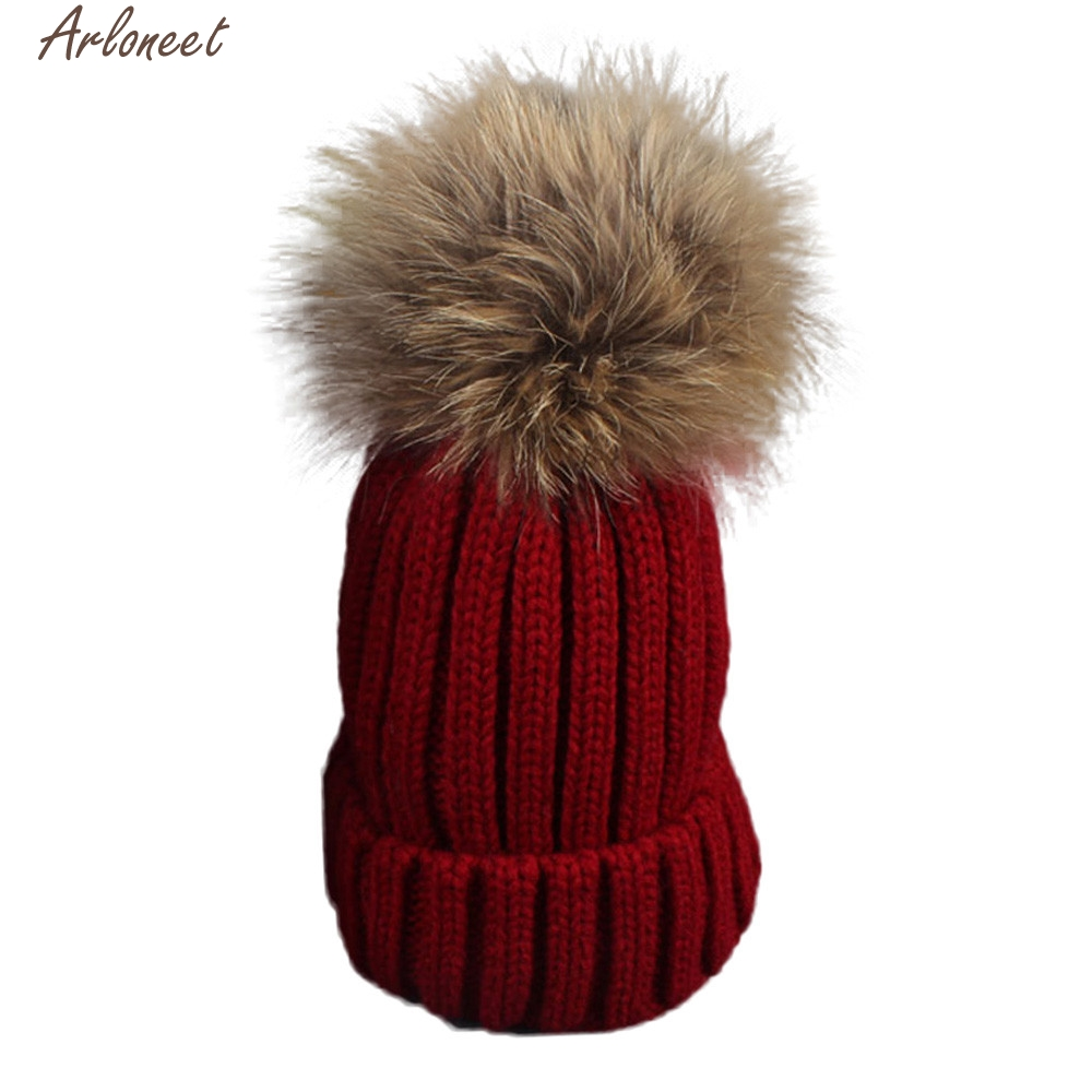 2017 NEW Toddler Baby Winter Crochet Hat Fur Wool Knit Beanie Raccoon Warm Cap High quality dsep25