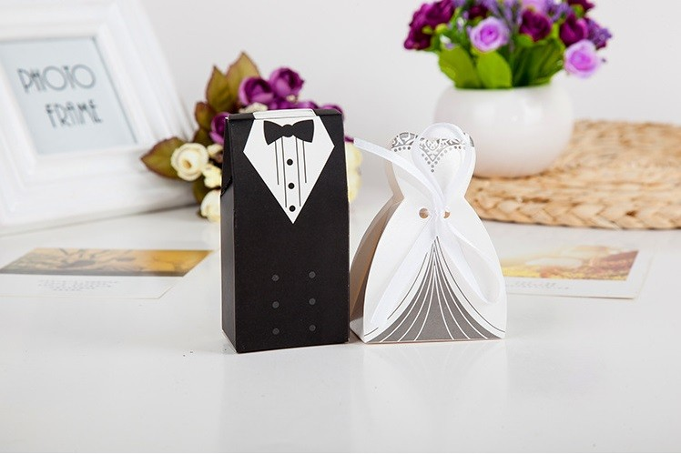 Inexpensive Wedding Gifts For Bride And Groom: 100pcs Tuxedo Bride Groom Wedding Candy Box Party Favors