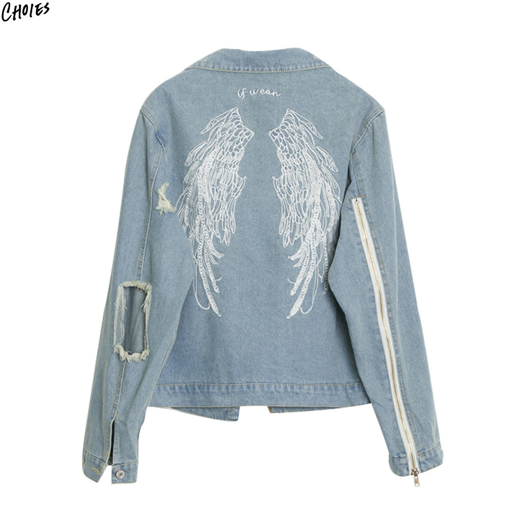 Blue Embroidery Wing Back Denim Jacket Coat Women Ripped