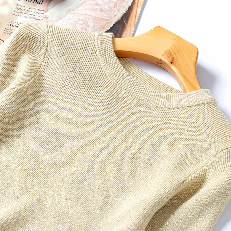 여성 가을 겨울 스웨터 패션 라운드 넥 긴 소매 슬림 피트 블라우스 기본 셔츠 숙녀 풀오버 한국어 니트 탑스 femme