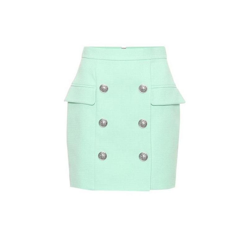 Newest Trend Elegant Euroamerican Women High Waist Solid Color Slim Straight Skinny Skirt Runway Fashion Mini Skirts