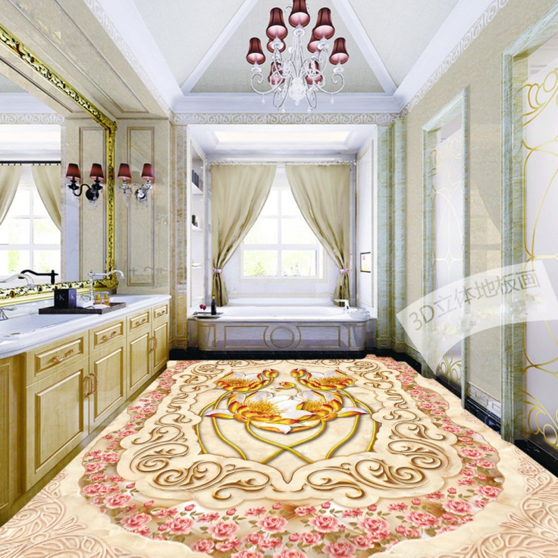 Free shipping custom floor home decoration self-adhesive mural baby room wallpaper Jade Roses Parquet 3D lotus flooring