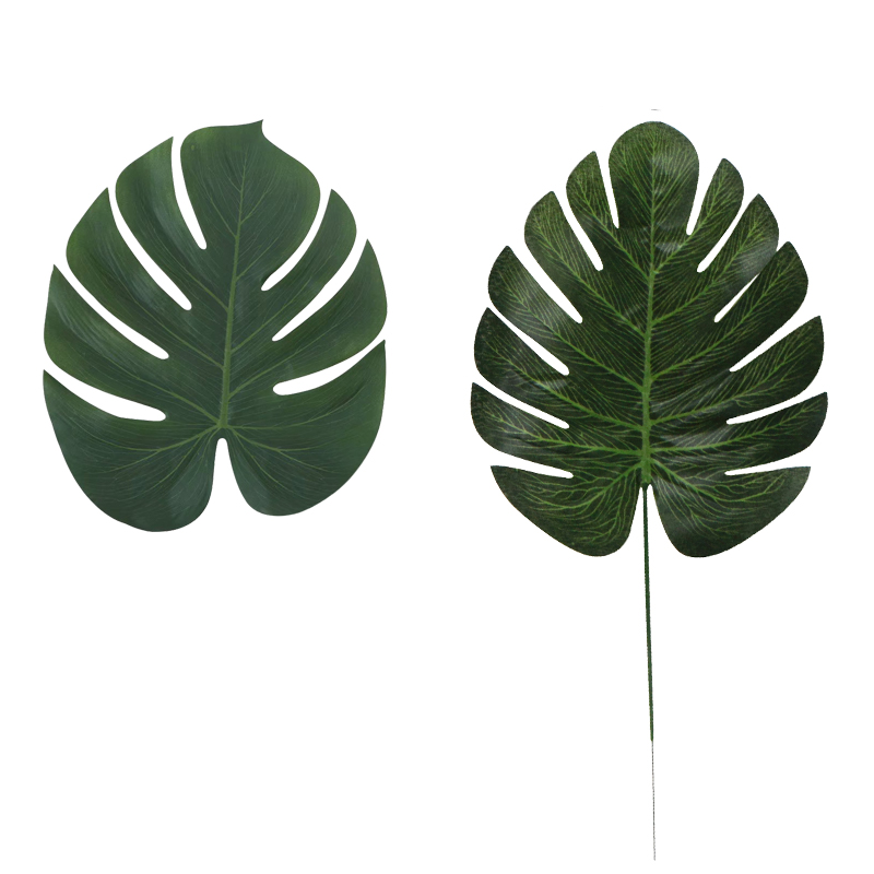 Image 5 - 5PCS Gold Green High Quality Fake Leaf Artificial Tropical Palm Leaves DIY Plant Home Party Wedding Table Desk Decoration Supply-in Artificial Plants from Home & Garden