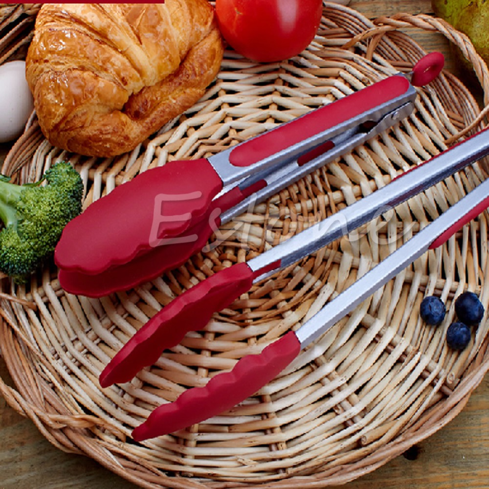 utile cuisine cuisine salade service bbq pinces en acier inoxydable poigne ustensile silicone couleur en option dans pinces de maison jardin sur - Ustensile Utile