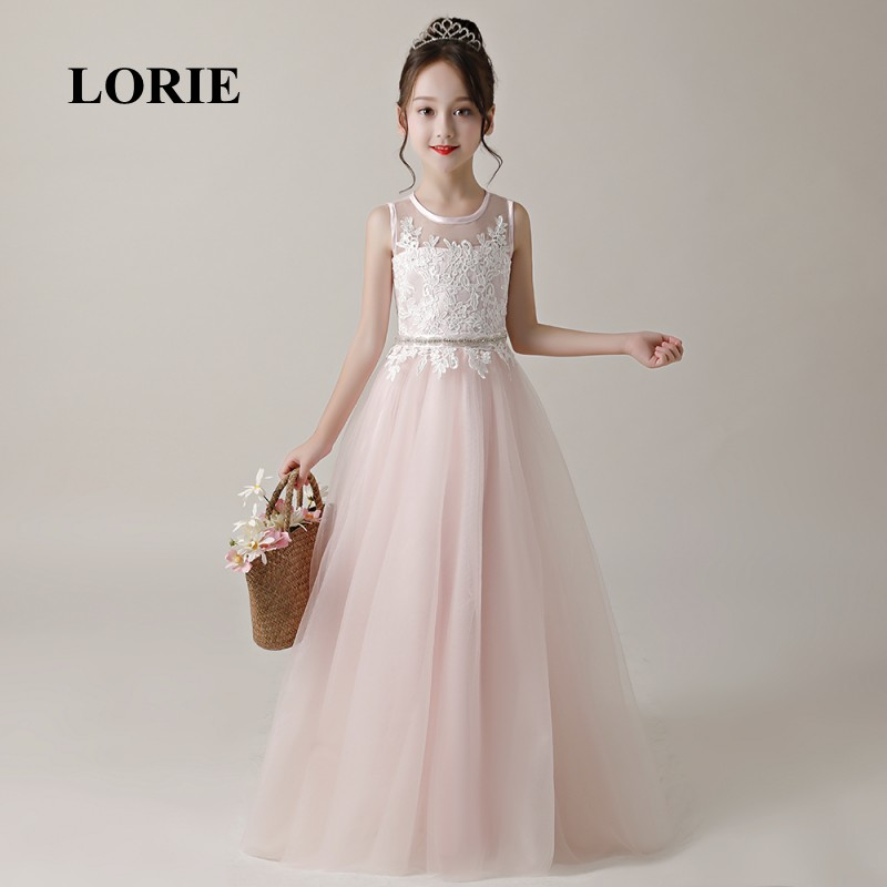 LORIE Flower Girl Dresses O Neck A Line Pink Appliques Tulle Lace Zipper Back Long Girl