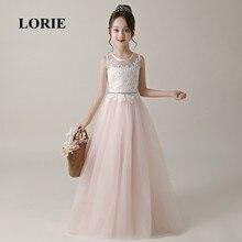 цена LORIE Flower Girl Dresses O-Neck A Line Pink Appliques Tulle Lace Zipper Back Long Girl Party Dresses for Girl Pageant 2019 в интернет-магазинах