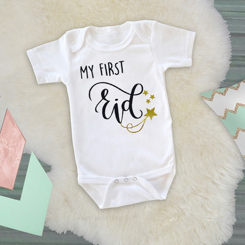 DERMSPE 2019 New Baby Short Sleeve  Jumpsuit Cartoon Letter Print My First  Eid Girl Boy Rompers Newborn Baby Clothes