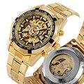 Механические часы Skeleton с автоматическим намоткой  деловые мужские часы золотого цвета с арабскими цифрами