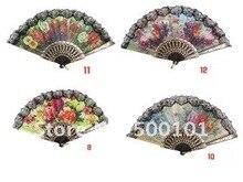 1000pcs/lot black/white  lolita lace spanish hand Fan dance Elegant Fans wedding event gift party & show 12 Design