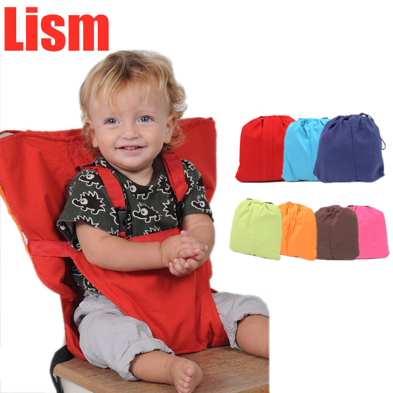 Lism Baby Portable Seat Kids Chair Travel Foldable Washable Infant Dining High Dinning Cover Seat Safety Belt Feeding High Chair