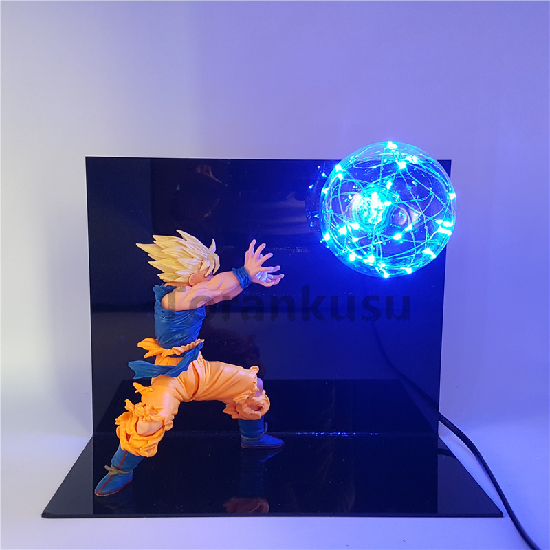 Dragon Ball Z Goku Action Figure Super Saiyan Kamehameha Led Light Anime Dragon Ball Z Figurine Model Toy Son Goku Lamp