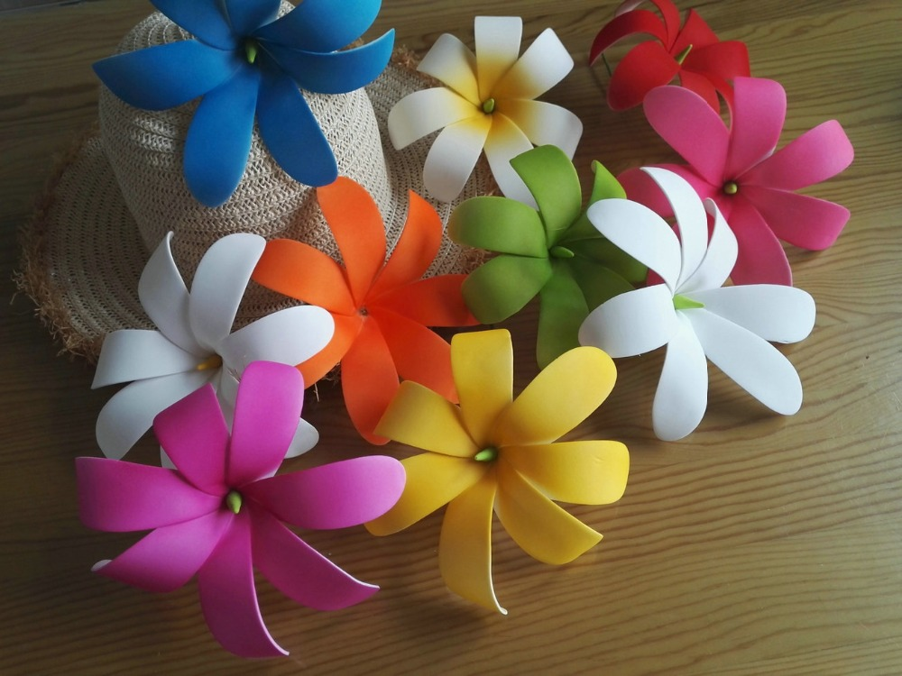 Free Shipping F002 288pcs/ Lot 15CM 8 Colors Foam Tiare Hair Pick  Women Wear Hair Accessories Hawaii Tropical Flower