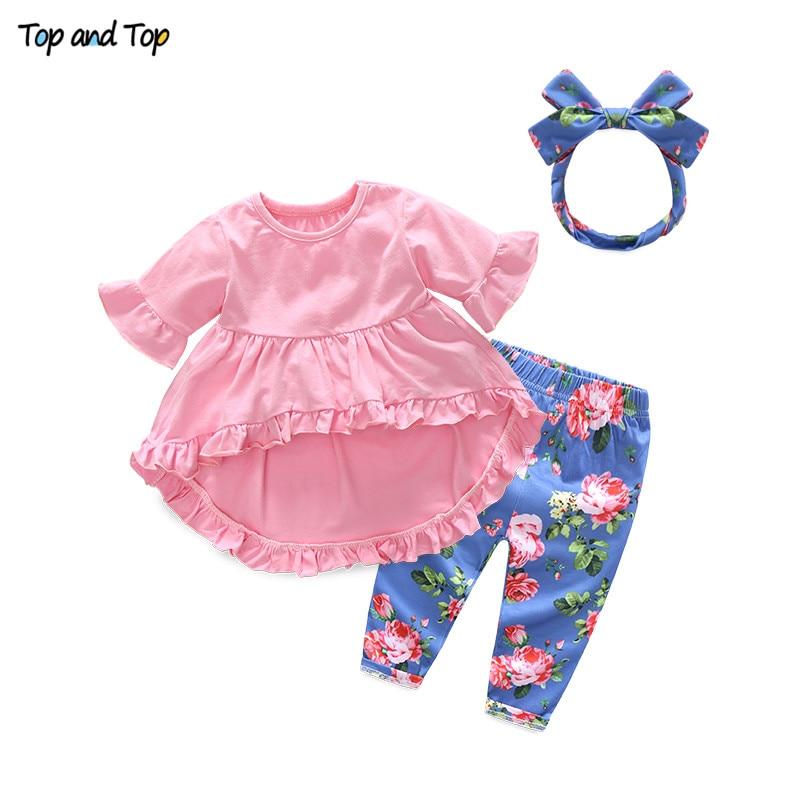 T-Shirt Headband Trousers Short-Sleeve Toddler Girls Fashion Summer Top Cute