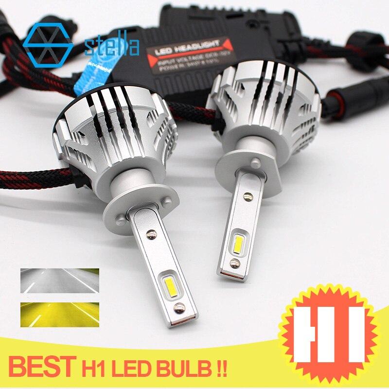 2 pièces meilleure ampoule H1 phare LED, phare automatique h1 le plus lumineux sur le marché 12 V 6500 K blanc/3000 K boule jaune ventilateur garantie à vie