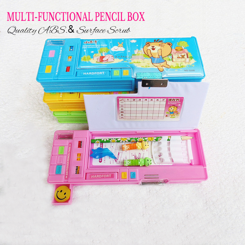 купить school cute pencil case for students double-sided plastic automatic creative Stationery storage boxes gift 25*9*3.5cm 4 colors по цене 985.96 рублей