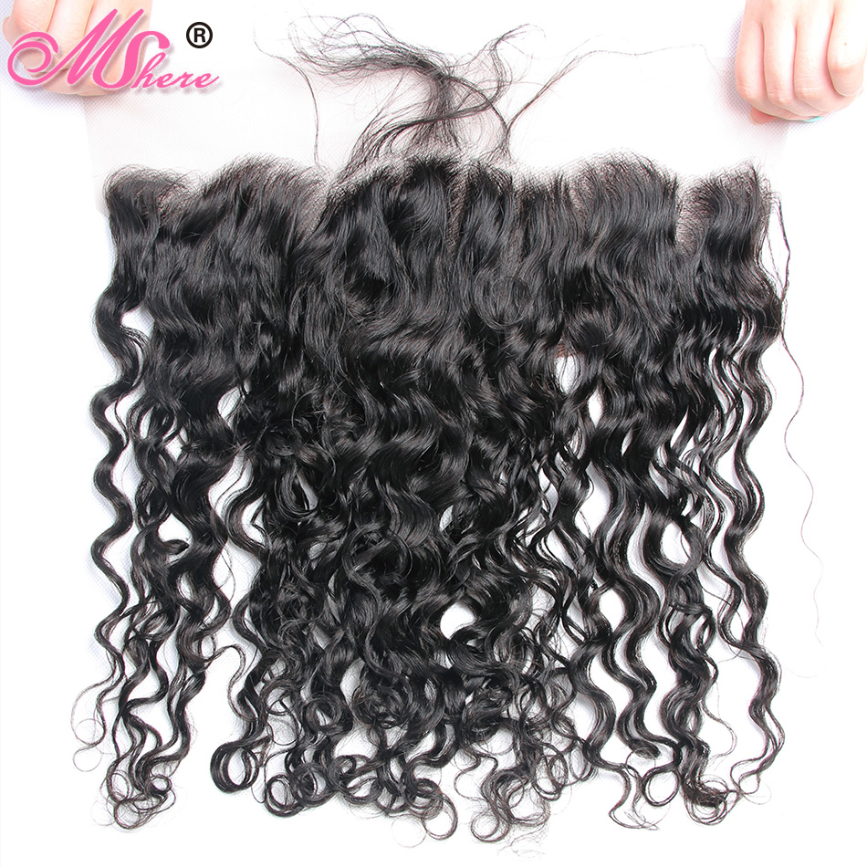 Pre Plucked Peruvian Water Wave Lace Frontal with Baby Hair Mshere Remy Hair Ear to Ear