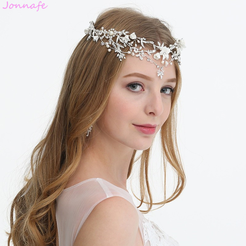 Jonnafe Silver Color Bridal Floral Forehead Tiara Handmade Wedding Crown Hair Accessories Pearls Women Prom Headband