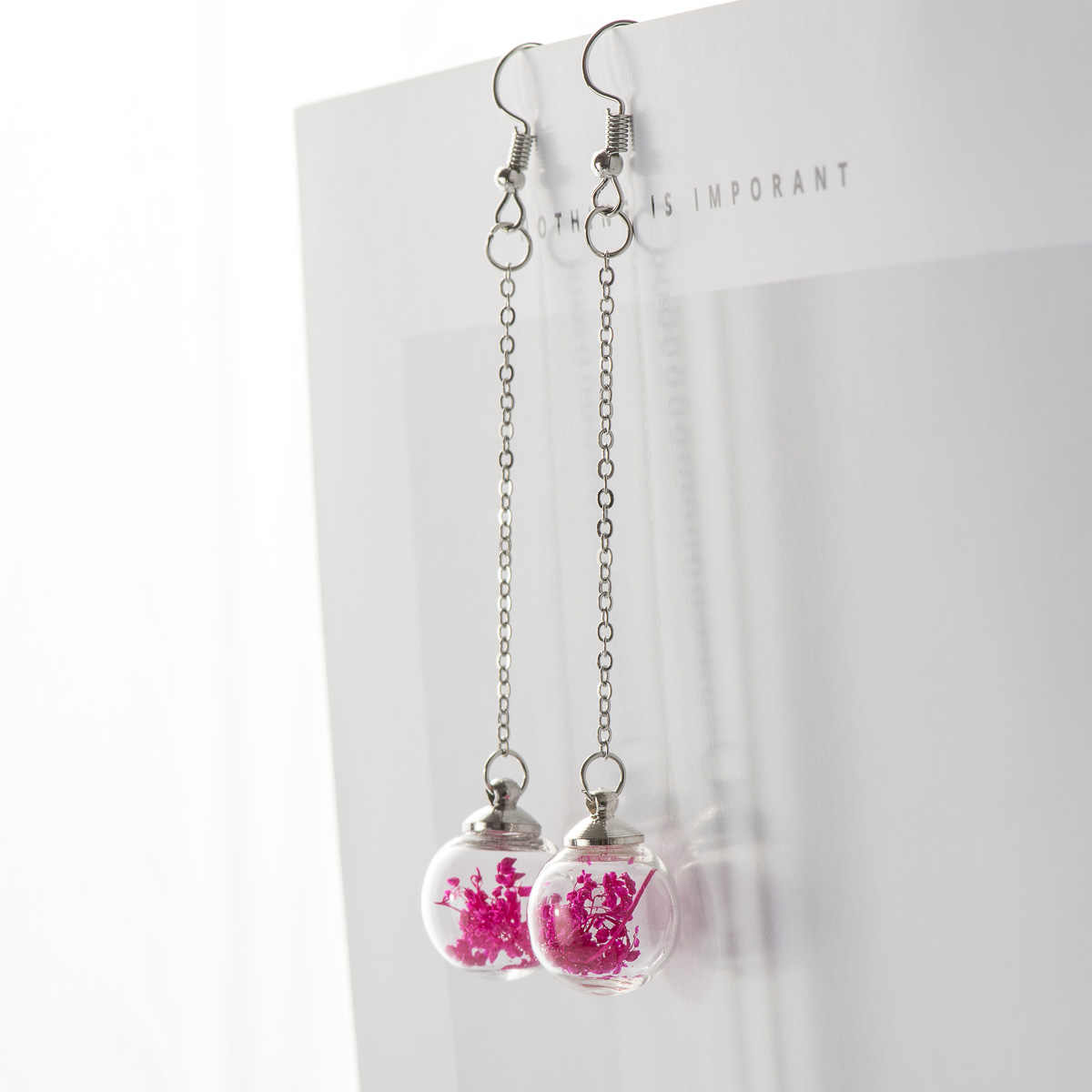 Flower Eardrop Dried Flower In Glass Ball Earrings Fantasy DIY Ear Lines Dangle Earring For women #HZ201