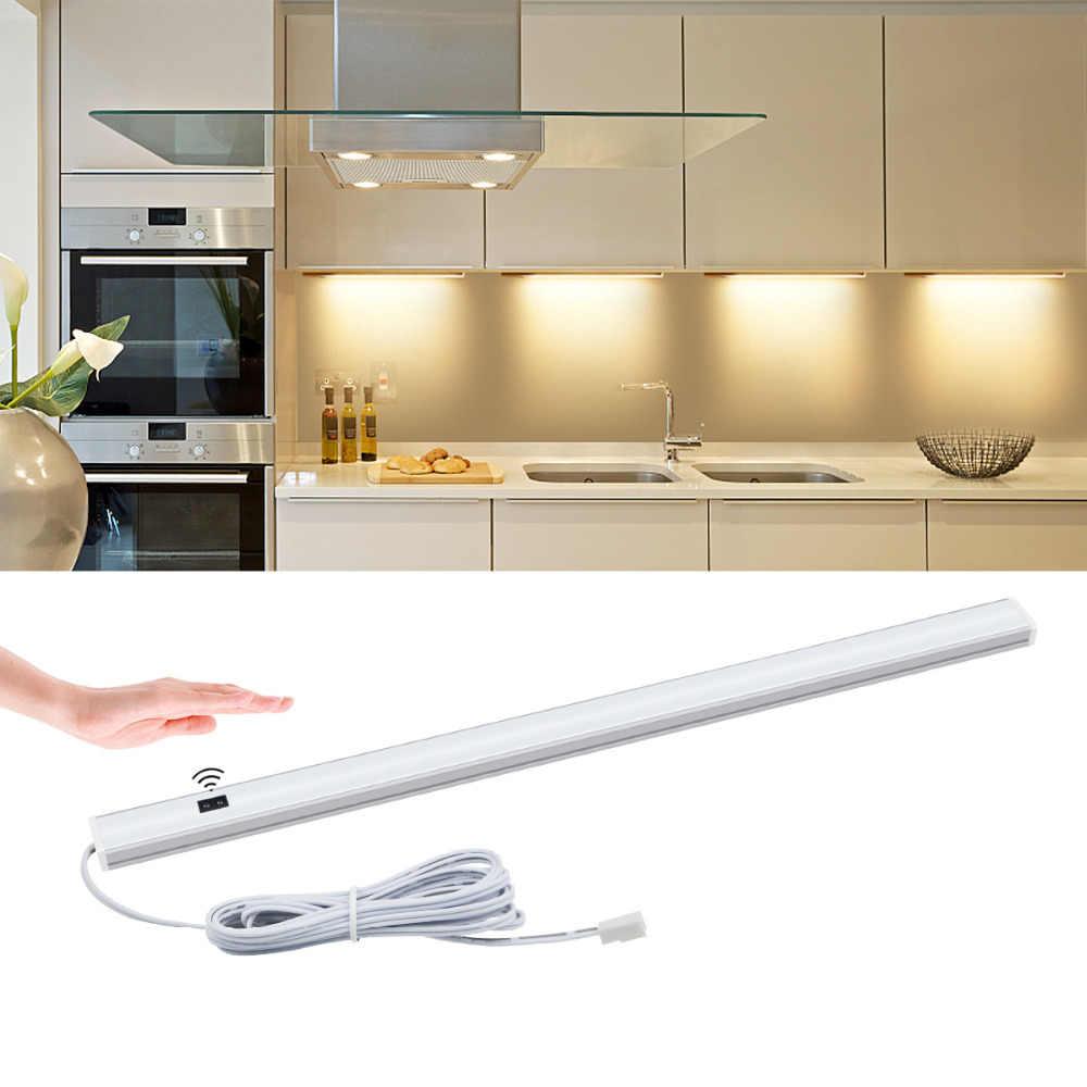 Кухонные светильники, ручной датчик развертки, светодиодный ламповый светильник 5 Вт 6 Вт 7 Вт 12 В, подсветка для шкафа, датчик движения, светодиодная кухонная лампа