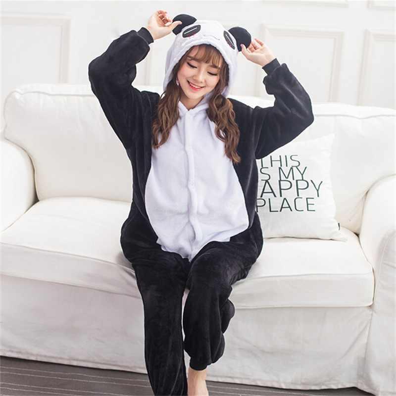 Kigurumi Panda Pajama Onesie Women Adult Fantasias Animal Cosplay Costume  Flannel Cute Sleepwear Party Fancy Disguise 7094be83b