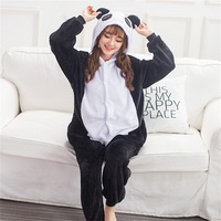 Cry Panda Pajama Onesie Women Men Adult Fantasias Animal Cosplay Costume Flannel Warm Cute Black White