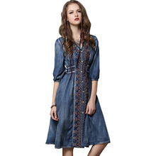 New Large Size Denim Dress Drawstring Drawstring Sleeve Dress Women's Casual Vintage Lantern Sleeve Embroidered V-neck Dress frill trim embroidered lantern sleeve dress