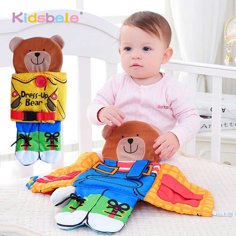 Baby Infant Eye Hand Coordination Bunny Bear Cloth Book Soft Appease Doll Early Educational Rattle Toys Quiet Book Baby Toy