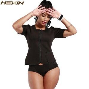Image 3 - HEXIN זיעה גוף Shaper חולצה תרמו הרזיה סאונה חליפת משקל אובדן שחור Shapewear עם שרוולים Neoprene מותן מאמן