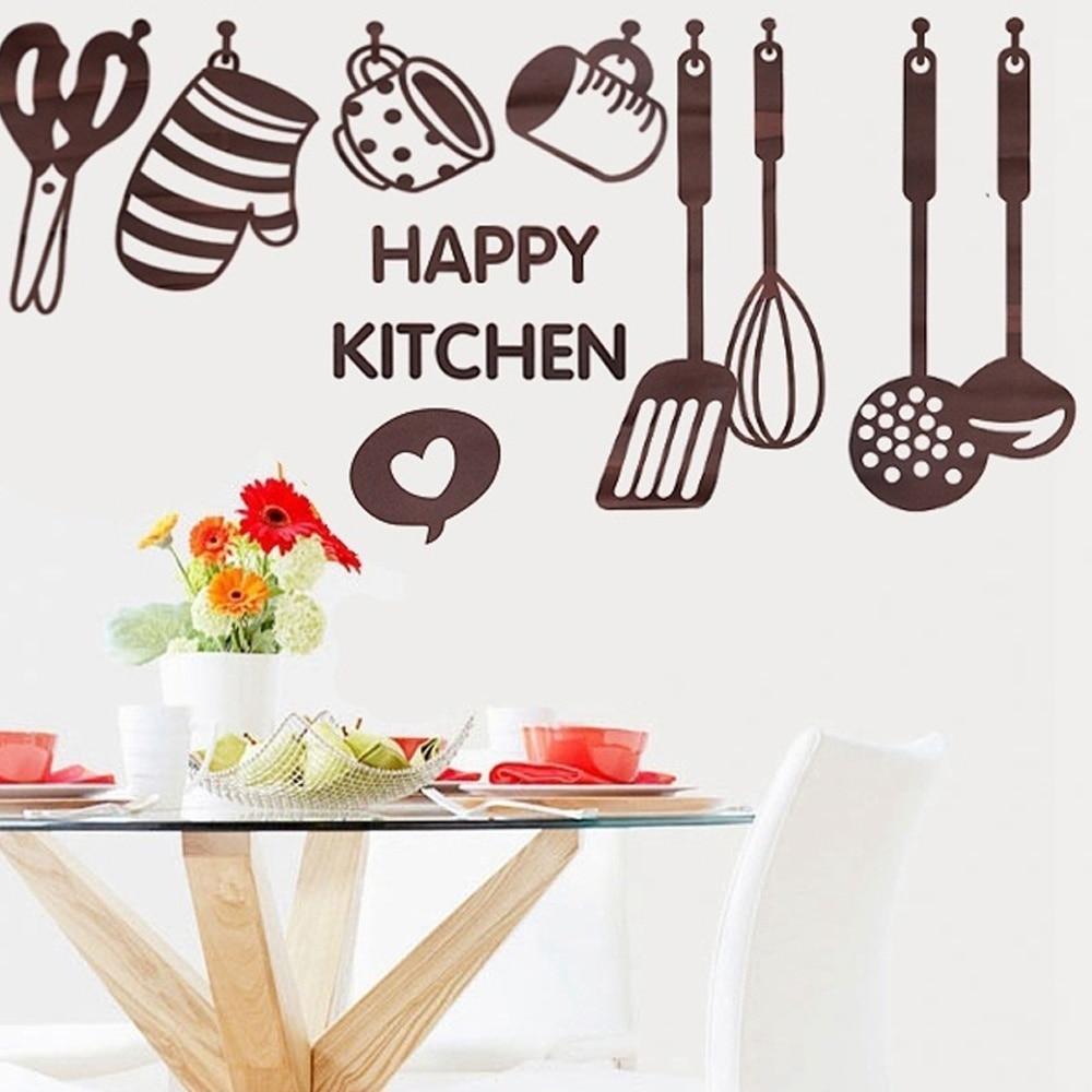 mode utile creative bricolage respectueux de lenvironnement pvc cuisine ustensile de cuisine spatule vinyle amovible sticker home decor dans stickers - Ustensile Utile