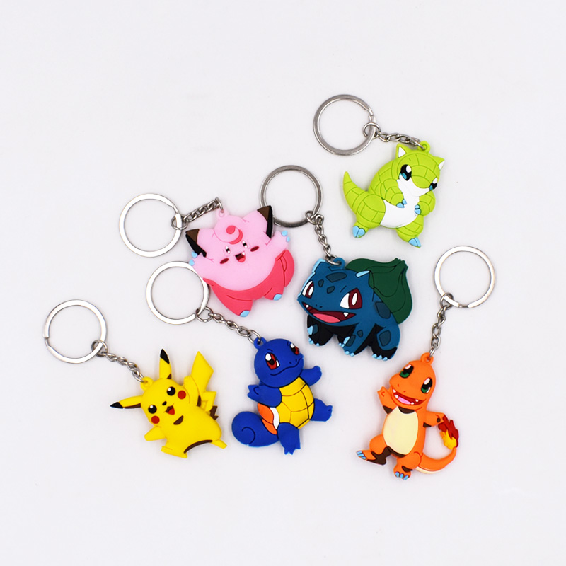 6Style New Arrival 4-6cm Keychain Pendant Cartoon Figures PVC Pikachu Bulbasaur Charmander Clefairy Sandshrew Squirtle Keyrings