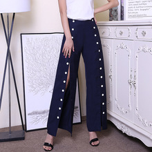 High quality double breasted staight pants New 2018 spring runways buttons high waisted pants S503 цена 2017