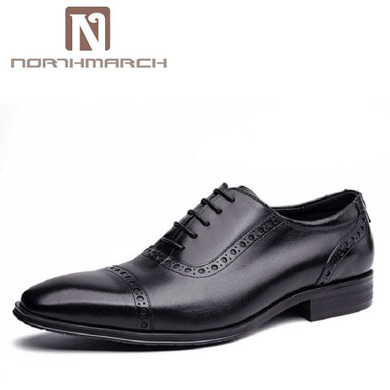NORTHMARCH Black Mens Wedding Shoes Genuine Leather Bullock Dress Shoes Luxury Business Formal Oxfords Shoes masculino adulto top quality crocodile grain black oxfords mens dress shoes genuine leather business shoes mens formal wedding shoes