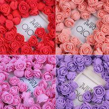 144 шт./упак. 2 см мини ПЭ пена искусственный бутон розы для рукоделия венок Свадебный букет Скрапбукинг вечерние украшения для дома