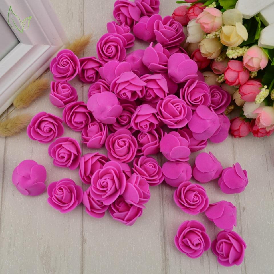 100pcs PE Foam Fake Flower Roses Head Artificial Flowers Cheap Wedding Decoration For Scrapbooking Gift Box Diy Wreath Multi-use