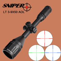 SNIPER 3 9X50 AOL Hunting Riflescope Tactical Optical Sight Full Size Mil Dot Equipment RGB Wire Reticle for Rifle Scope