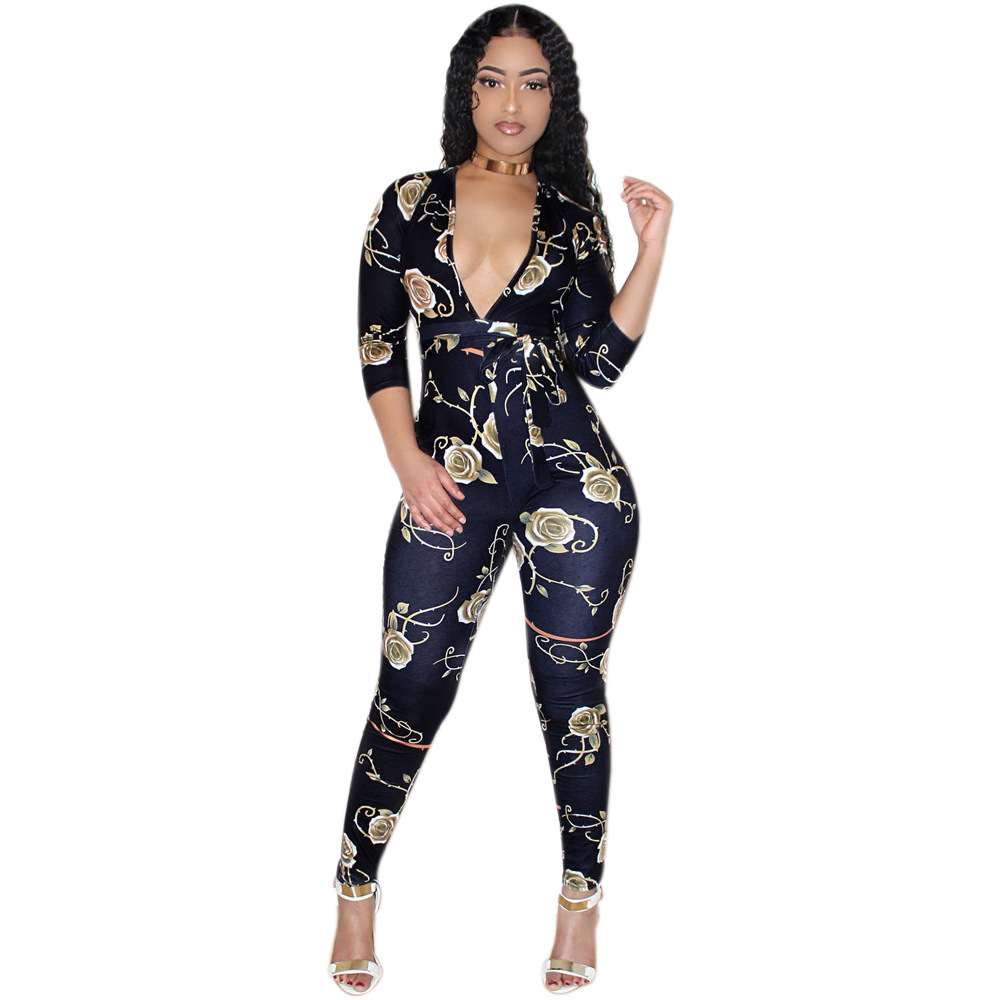 Rose Floral Print Jumpsuit Women Sexy Deep V Neck Bodycon Long Sleeve Night Club Women Jumpsuit Female Body Bandage Jumpsuit