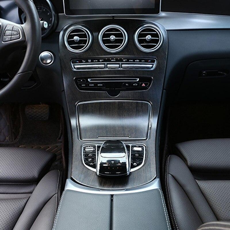 Center Console Gear Shift Panel Cover Trim 2Pcs For Mercedes Benz C Class W205 2015-18 GLC X253 2016-18 Oak Grain Color Style