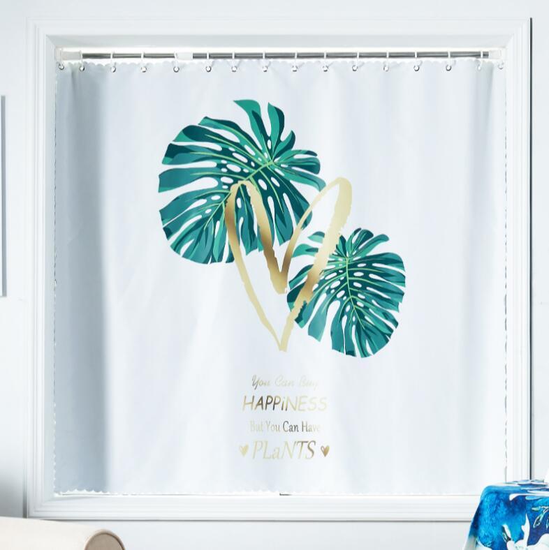 Nordic Double Side Palm Prints Drapes Blue Blackout Blinds Window Short Curtains for Children adult Room extendable rod