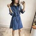 Nueva primavera de lavado con agua azouari xl-5xl plus tamaño mujeres clothing hacer viejo vaquero camisa de vestido de la correa