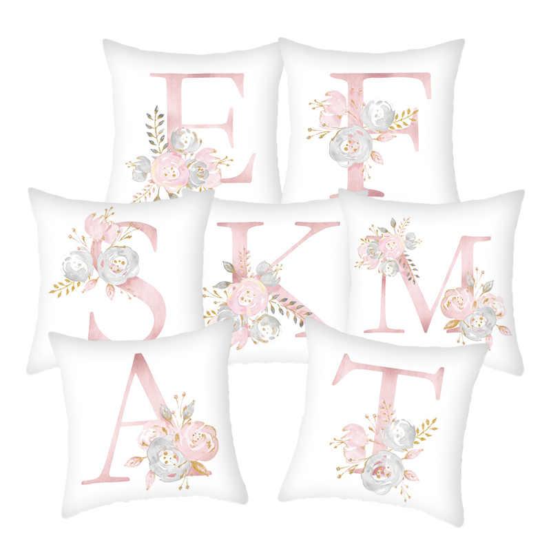 Merah Muda Bunga Surat Dekoratif Bantal Sarung Bantal Sarung Bantal Bantal untuk Sofa Poliester Dekorasi Rumah Kain Penutup Cover 45*45