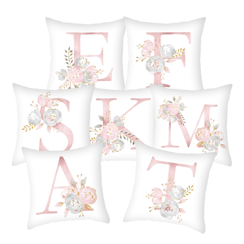 Pillow Cover Decorative Pink Letter Printed Cushion Covers 45*45 Pillowcase Sofa Cushions Polyester Cuscini Decorativi 10062