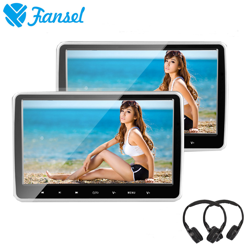 Fansel 2PCS 10.6 Inch Car Headrest Monitor DVD Player Touch Button HD 1080P Video/USB/SD/IR/FM Transmitter/HDMI/Speaker/Game