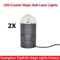 2XLot 2015 HotSales Mini RGB LED Crystal Magic Ball Stage Effect Lighting Lamps For Party DJ