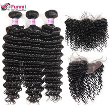 Funmi Deep Wave Bundles With Frontal 13X4 inch Brazilian Virgin Hair Weave Bundles With Frontal Closure 3 Bundles With Frontal(China)