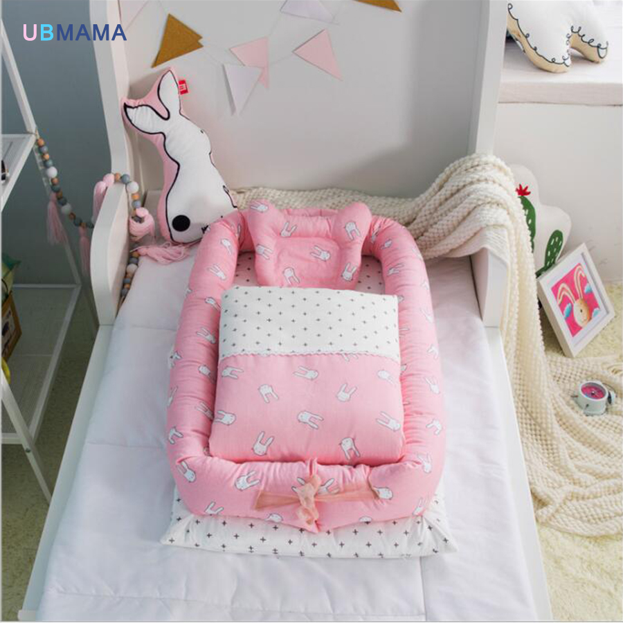 Portable crib bed neonatal baby high quality sleeping artifact collapsible bionic bed can clean crib Send quilt and pillow chic quality flamingo and lotus pattern flax pillow case(without pillow inner)