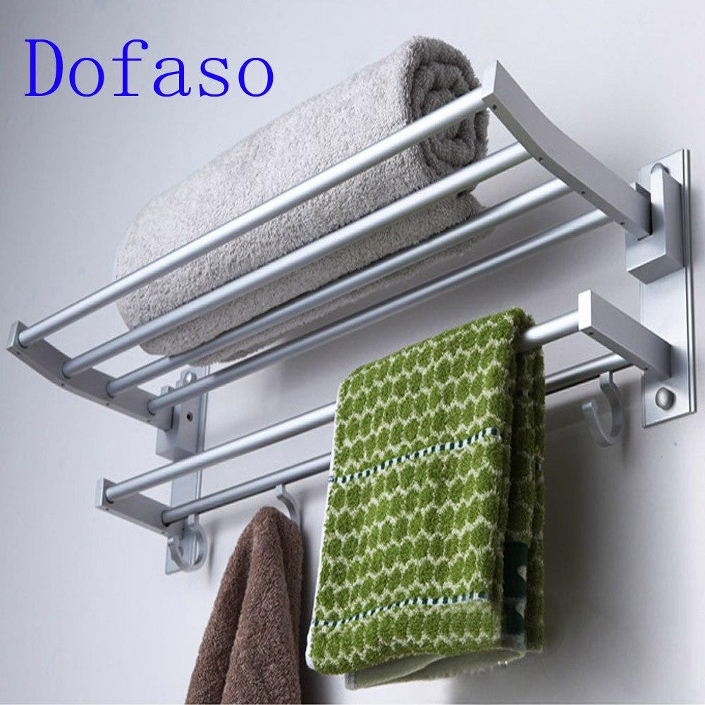 Dofaso matériel de toilette 40 cm/60 cm longueur de douche porte-serviettes 2 couche plateau accessoire de salle avec crochet