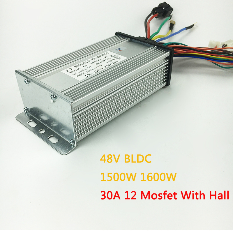 BLDC 48V 1500W 1600W 30A Brushless Motor Controller 12 Mosfet With Hall For Electric Bicycle Scooter Part E bike Conversion bldc brushless dc sensored motor outrunner 30 70v large 8092 70kv with hall sensor for rc hobby electric bicycle scooter