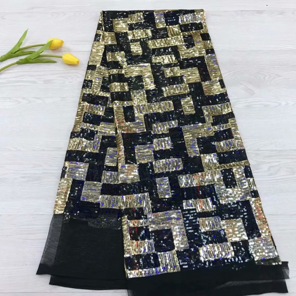 2019 high quality sequence French Nigerian sequins net lace African tulle mesh sequence lace fabric for