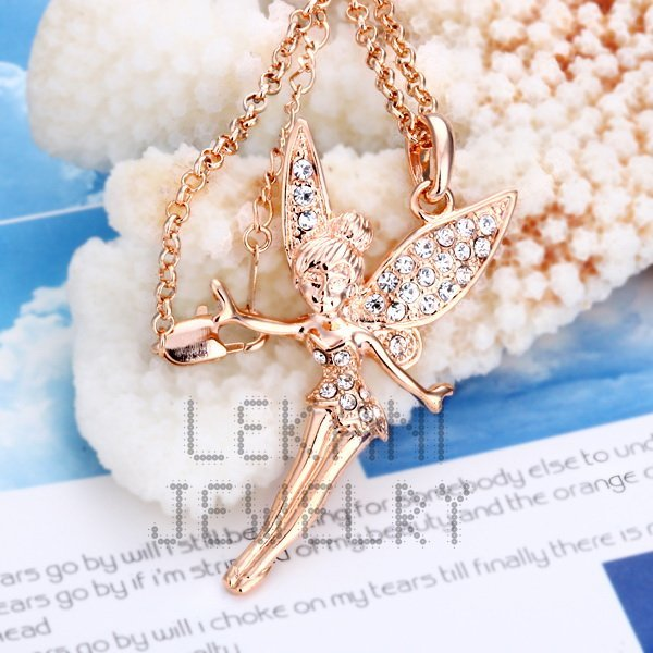 Free Shipping New Hot Sale 18k Rose Gold Plated White Crystal Long Charm Wedding Jewelry Angel Necklace
