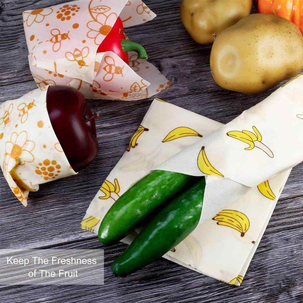3pcs Reusable Fresh Cloth Wrap Seal Food Fresh Keeping Wrap Lid Cover Stretch Vacuum Food Wrap Beeswax Cloth Kitchen Tools